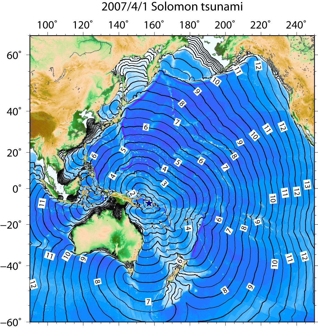 Fig.1 Tsunami travel times (wide area)